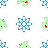 Pattern. Merry muzzle and flowers in the style of Kawai stock illustration