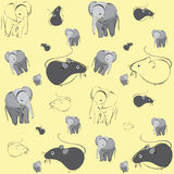 Pattern with mice and elephants. On yellow background Royalty Free Stock Photos