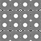 Pattern with mirrored ovals, ellipses, abstract repeatable black. And white background - Royalty free vector illustration Stock Photos