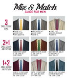 Pattern mix match guide for suit Royalty Free Stock Image
