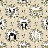 Seamless vector pattern with cute woodland animal heads on cream background. vector illustration