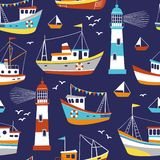 Hand drawn cute fishing boats, seagulls and lighthouses. royalty free illustration