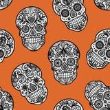 Seamless  pattern with lace sugar skulls on orange background. vector illustration