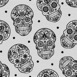 Seamless vector pattern with lace sugar skulls on white background. stock illustration
