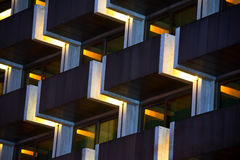 Pattern of modern apartment building. Pattern of a modern apartment building balconies, in grid and repeated shape, geometry, line and block Stock Photo