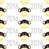 Pattern with monkey face and 2016 numbers. Seamless pattern with repeating monkey face and 2016 date arranged in staggered rows and  on white background Stock Photo
