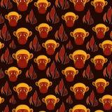 Pattern monkey fire Royalty Free Stock Photo
