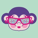 Pattern monkey head in sunglasses decorated with flowers. Chinese zodiac: 2016 year monkey. Winter Christmas design. Can be used for postcards, books Stock Illustration