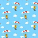 Pattern of monkeys with parachute Stock Image