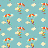 Pattern of monkeys with parachute Royalty Free Stock Photography