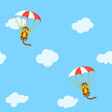 Pattern of monkeys with parachute Royalty Free Stock Photos
