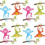 Pattern with monkeys with White Background. Pattern with monkeys. New Year Symbol Stock Photography