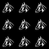 Pattern monochrome, black and white. Horse head, hand drawn style. Stencil. Stock Photos