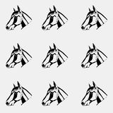 Pattern monochrome, black and white. Horse head, hand drawn style. Stencil. Royalty Free Stock Image