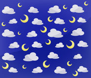 Pattern of moons and clouds. Simple pattern of moons and clouds background Stock Images
