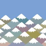 Pattern Mount, card banner design Nature background with Mountain landscape. Gray, pink, blue navy mountain with snow-capped peaks. Applicable for Placards stock illustration