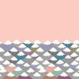 pattern Mount, card banner design Nature background with Mountain landscape. Gray, pink, blue navy mountain with snow-capped peaks royalty free illustration