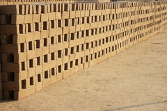 Pattern of mud bricks. Royalty Free Stock Photos