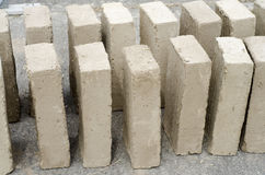Pattern of mud bricks in vertical position. Stock Photography