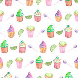 Pattern with muffins, lime and candy Stock Photography