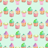 Pattern with muffins Royalty Free Stock Photos