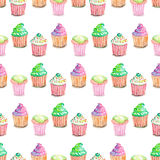 Pattern with muffins Stock Image