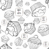 Pattern with muffins. Stock Photos