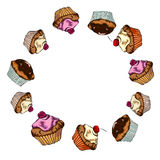 Pattern with muffins. Stock Images