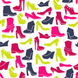 Pattern with multicolor different kinds of shoes Stock Image