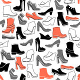 Pattern with multicolor different kinds of shoes Stock Images