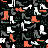 Pattern with multicolor different kinds of shoes Royalty Free Stock Image