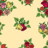 Pattern of multicolored roses Stock Photos