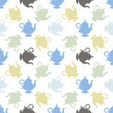 Pattern with a multicolored teapots Stock Photography