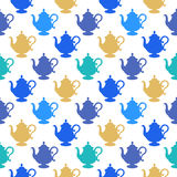 Pattern with a multicolored teapots Stock Photo