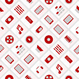 Pattern multimedia. seamless. Pattern multimedia. Red and gray. Vector format. seamless Royalty Free Stock Photos