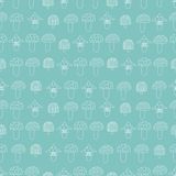 Pattern of mushrooms. Seamless pattern of mushrooms. White mushrooms on line turquoise background, painted in the style of doodle Stock Photography