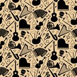 Pattern with musical instruments. Musical instruments background pattern with black vector icons in square format Royalty Free Stock Images
