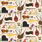Pattern with musical instruments. Musical instruments background pattern with colored vector icons in square format Stock Photography