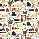 Pattern with musical instruments. Musical instruments background pattern with colored vector icons in square format Royalty Free Stock Photos