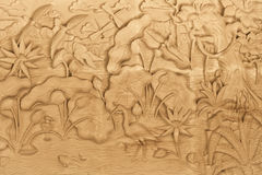 Nature carved on wood Stock Photography