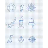 Pattern with nautical elements Stock Photography