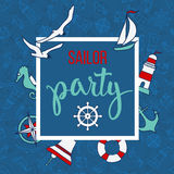 Pattern with nautical elements and text Sailor Party Royalty Free Stock Photo