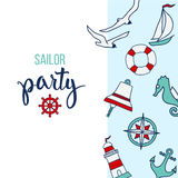 Pattern with nautical elements and text Sailor Party Stock Images