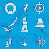 Pattern with nautical elements Royalty Free Stock Photos