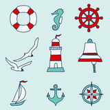 Pattern with nautical elements Royalty Free Stock Images