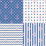 Pattern Navy set. Cute pattern Navy set in blue theme. There are zigzag,dot and stripe background Royalty Free Illustration