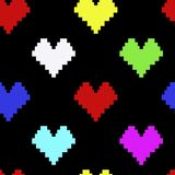 Pattern with neon pixel hearts. Seamless pattern with neon color hearts. Pixel Heart shapes. Romantic background for St. Valentine Day. Design element for vector illustration