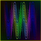 The pattern of a neon tape for the design of waves of sound and. Light. Flowing lines of a rainbow on a black background Stock Photos