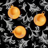Pattern new years on black background. Winter ornate stock illustration