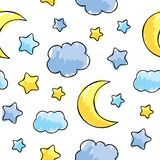 Pattern with night sky elements vector illustration